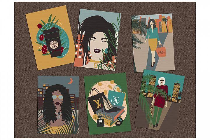 Fashion Illustration Digital Prints Set - Set of 6 cards