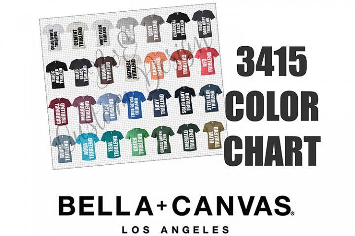 Bella 3415 V-Neck T-Shirt Color Chart