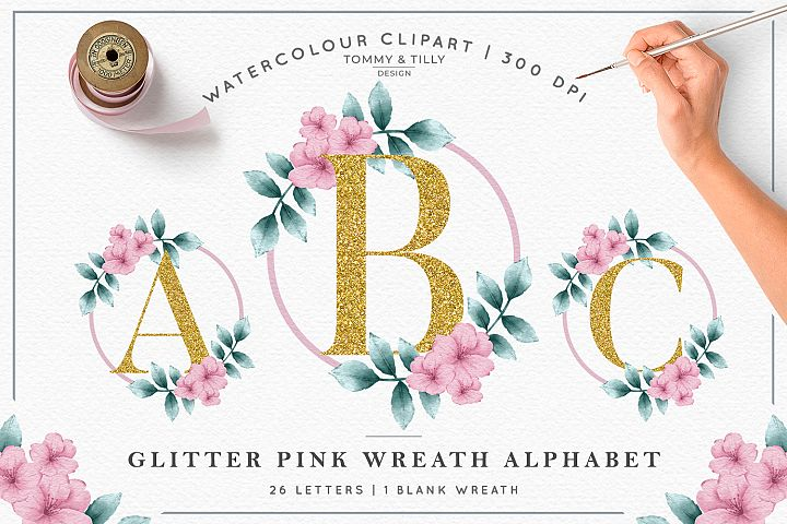 Watercolour Gold Wreath Alphabet - Clipart Sublimation P