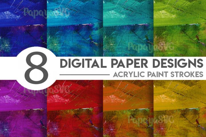 Acrylic Paint Strokes Digital Paper Bundle
