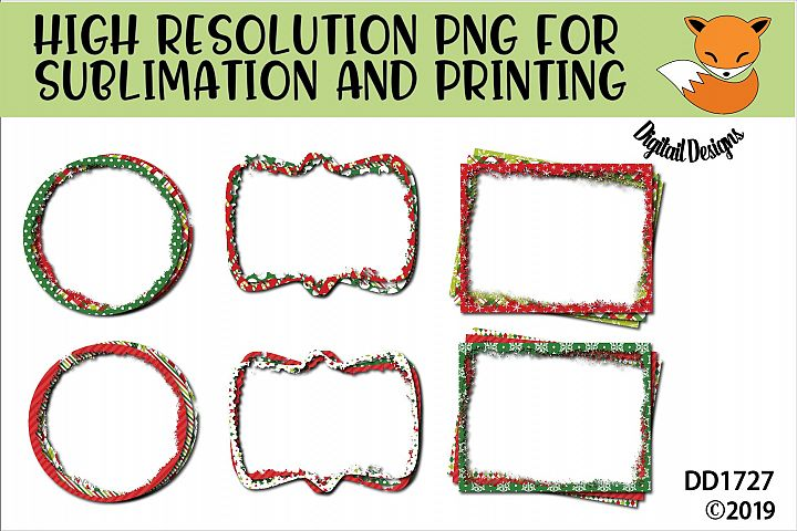 Set of Christmas Sublimation Frame Backgrounds Printable PNG