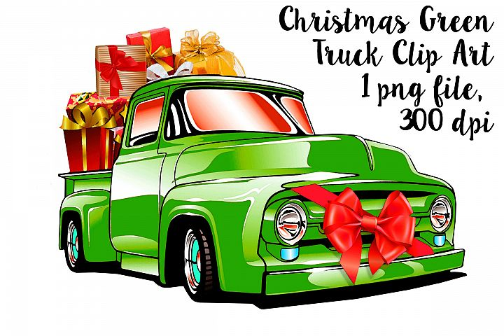 Christmas Green Retro Pick Up Truck Clip Art