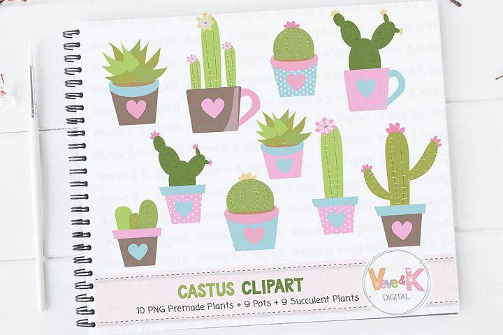 Cactus Clip Art, Cacti Clipart, Cute Cactus Clipart, Succulents Clip Art, Cactus Graphics, Planner Accessories, Plant Clipart, Cacti