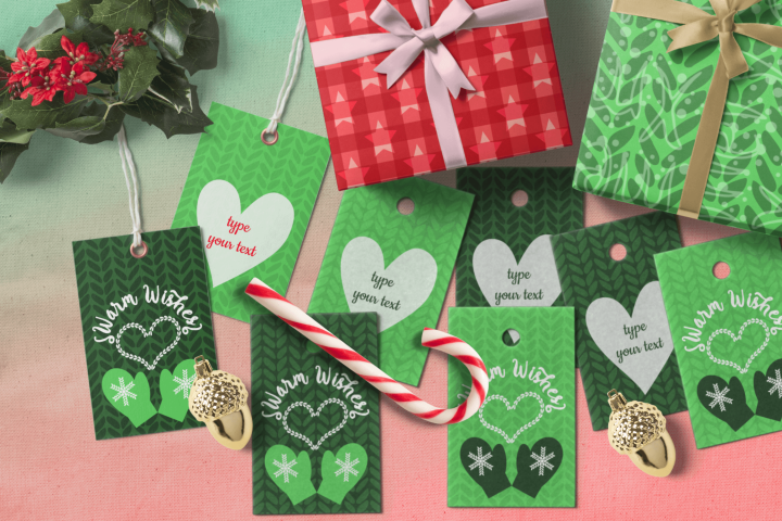 Warm Wishes Green Tags for Knitted Items Xmas Branding Tags