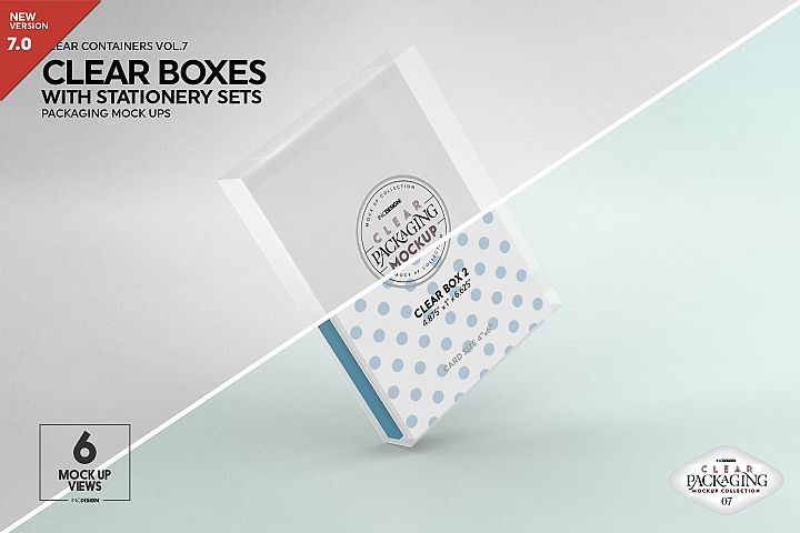 Clear Vertical Boxes with Stationery Set Packaging Mockup