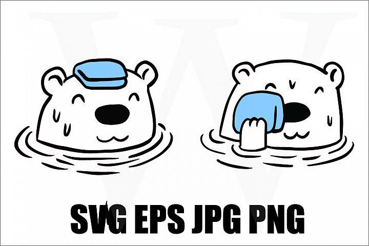 Bear Bathing - SVG EPS JPG PNG