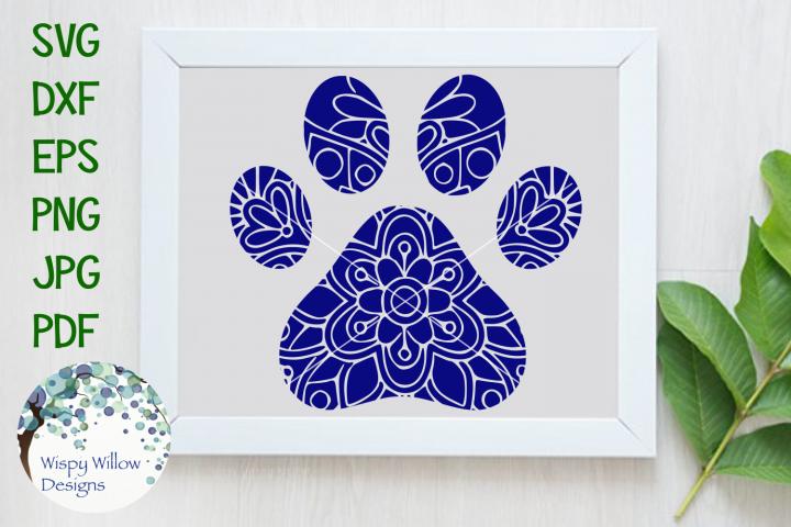 Paw Print Mandala, Animal Mandala SVG Cut File