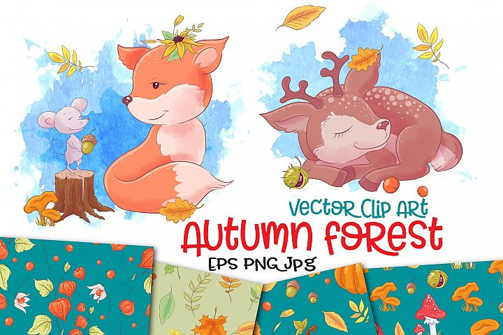 Autumn forest vector clip art