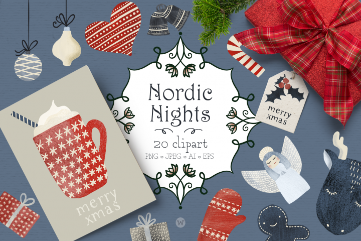 Winter clipart, Christmas clipart, Scandinavian clipart