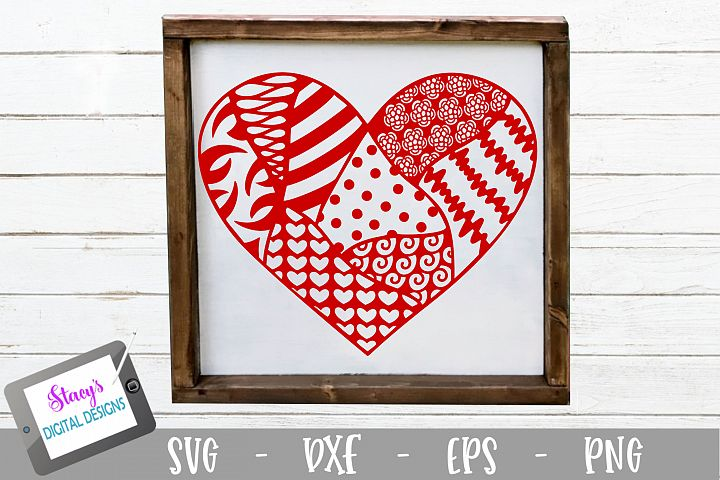 Heart SVG with doodle patterns