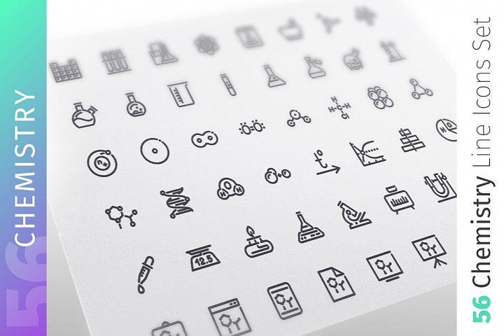 Chemistry Line Icons Set