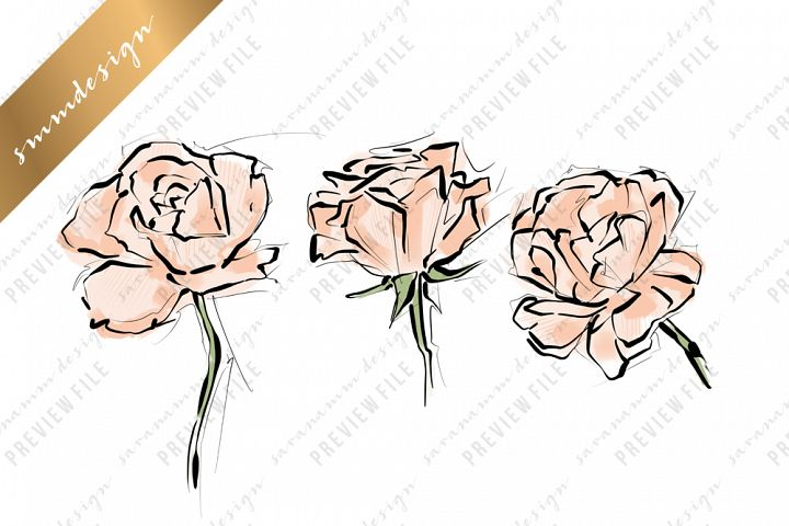 Blush Pink Roses Clipart Sublimation Design