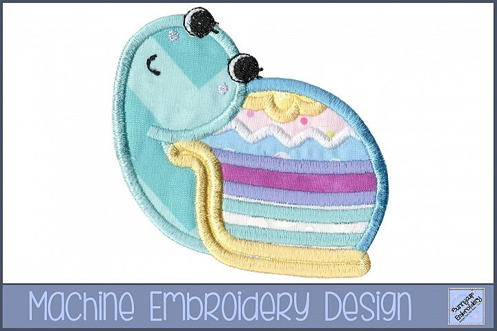 Easter Snail Applique Embroidery Design