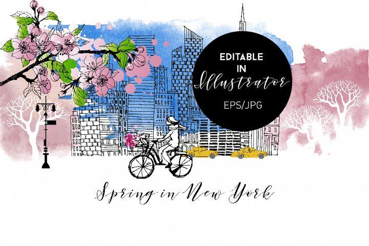 Spring in New York. Vector poster