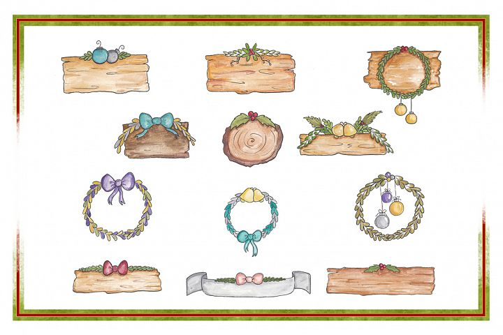 Holiday Clipart-Christmas Clipart-Object Clipart-Watercolor Clipart-Banner Clipart-Planner Clipart-Wreath Clipart-Christmas Banner-Ornaments