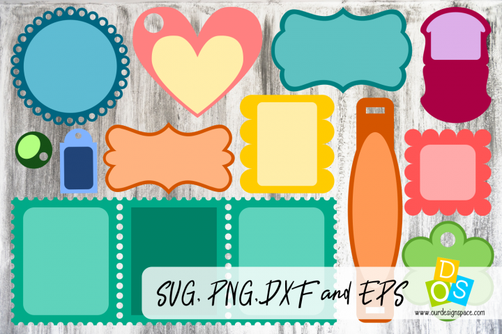 Frames & Tags 2 SVG,PNG,DXF and EPS files