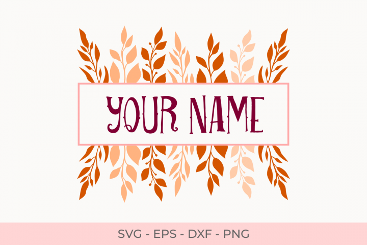 Frame Monogram Leaves Svg