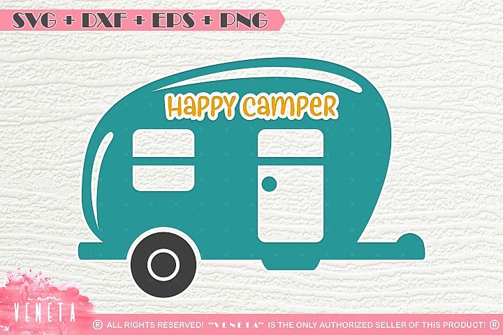 Happy Camper   Caravan   SVG, DXF, EPS, PNG Cutting File
