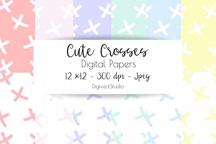 Cute Crosses - Digital Papers for Scrapbooking / Planners