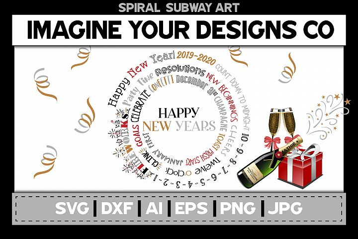 New Years Eve Spiral Subway Art, SVG Cut File Sublimation