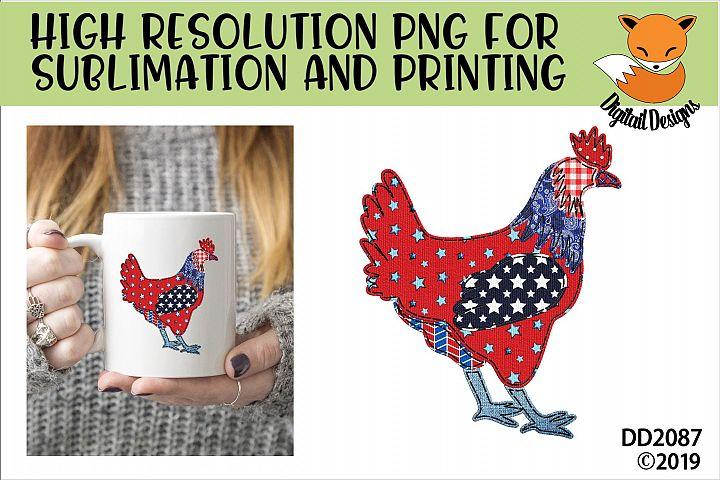 Patriotic Americana Faux Patchwork Chicken Sublimation