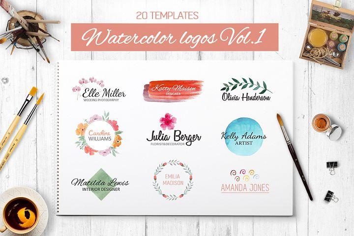 Watercolor logo templates. 20 premade logos
