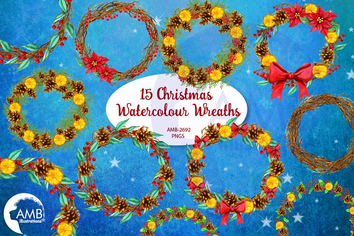 Christmas Watercolour Wreaths AMB-2692