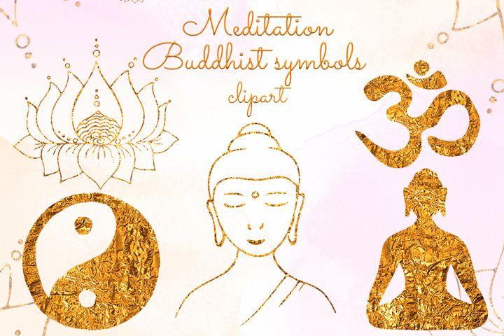 Yoga clipart Gold Buddha Lotus Om symbol Yin Yang Meditation