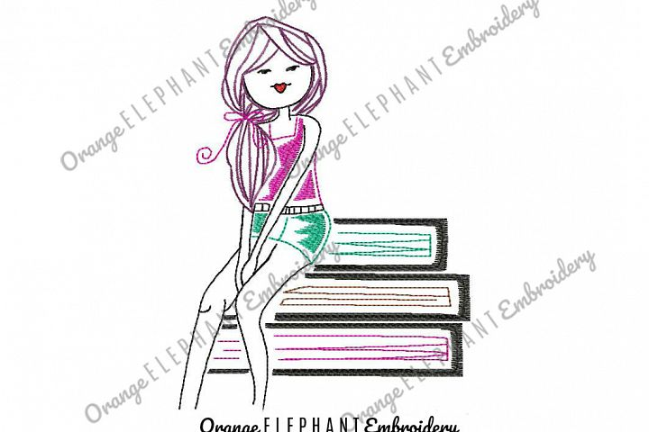 Read A Book Girl Hand Drawn Unique Urban Machine Embroidery Design digital File