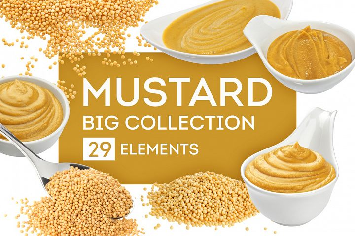 Mustard bundle, isolated on white background
