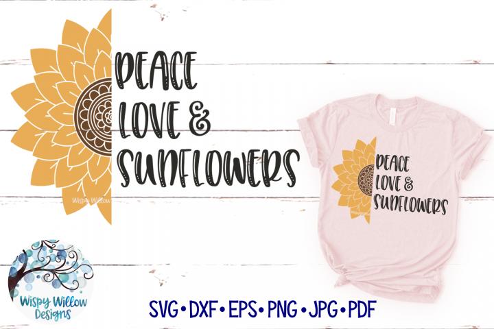 Peace Love And Sunflowers Mandala SVG