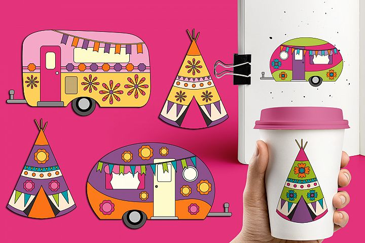 Spring caravan camper and teepee tents graphics