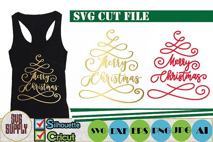 Merry Christmas Tree SVG Cut File