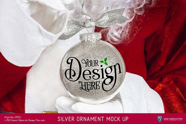 Christmas Mock up - Santas Silver Glitter Ornament