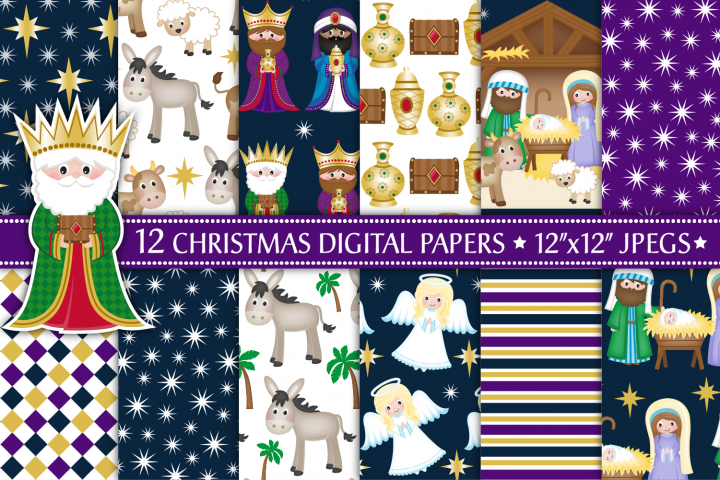 Nativity digital papers, Nativity scene, Christmas Nativity