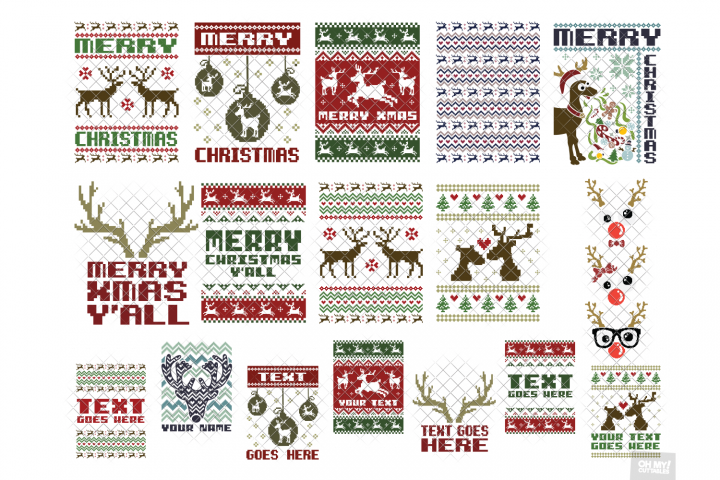 Reindeer Ugly Sweater SVG in SVG, DXF, PNG, EPS, JPG