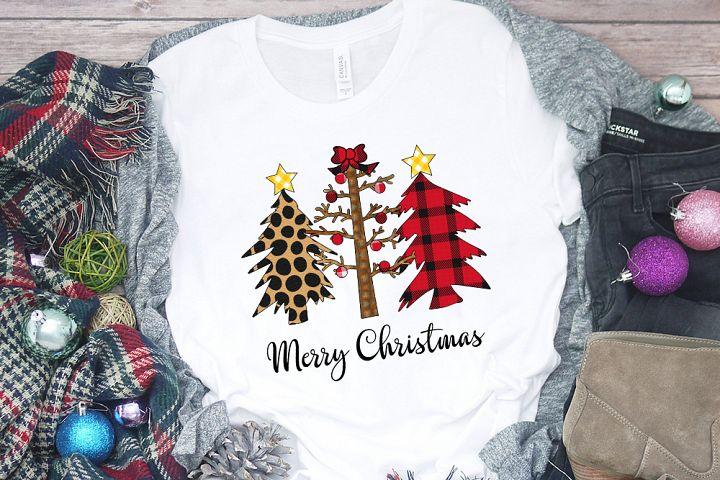 Merry Christmas - Christmas wild plaid leopard tree PNG