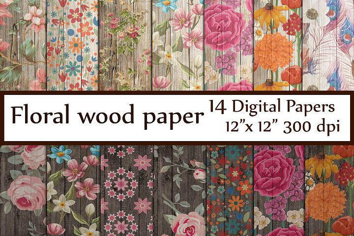 Wood Floral Paper