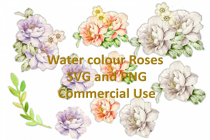 SVG and PNG Water Colour Flowers Decoupage Designer Resource