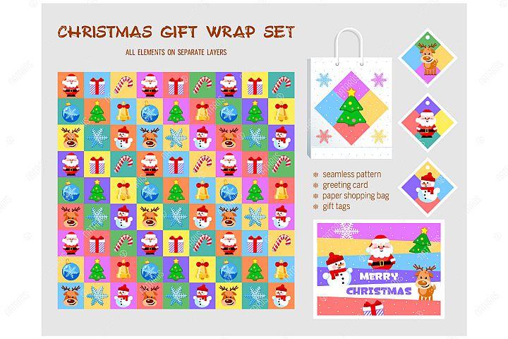 Christmas gift wrap set.