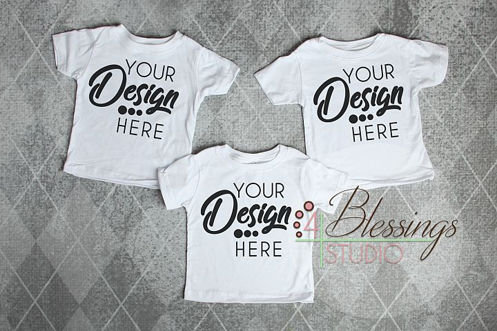Triplet Three Blank White Kids TShirts Tee Mockup Photo