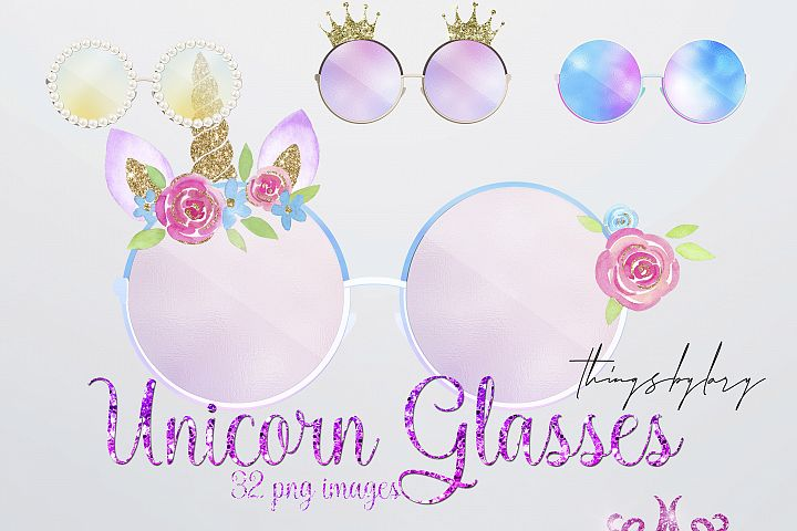 32 Summer Magical Unicorn Digital Sunglasses Overlay Images