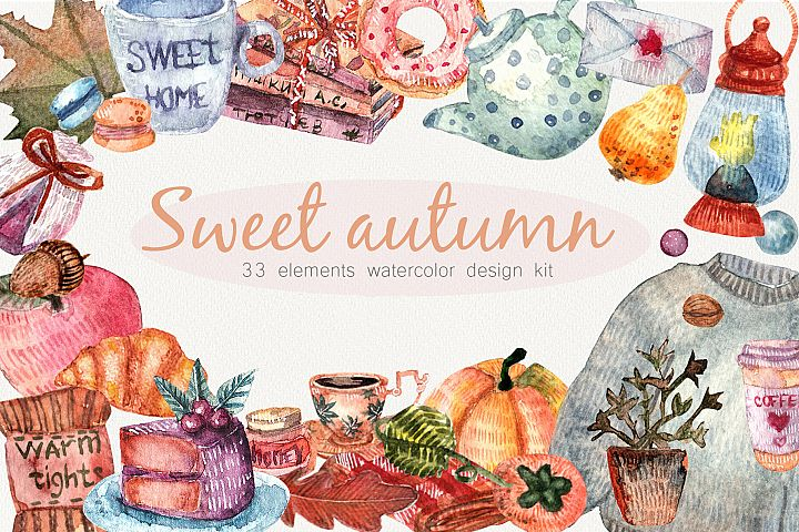 Cozy autumne. Cozy home. Watercolor illustrations