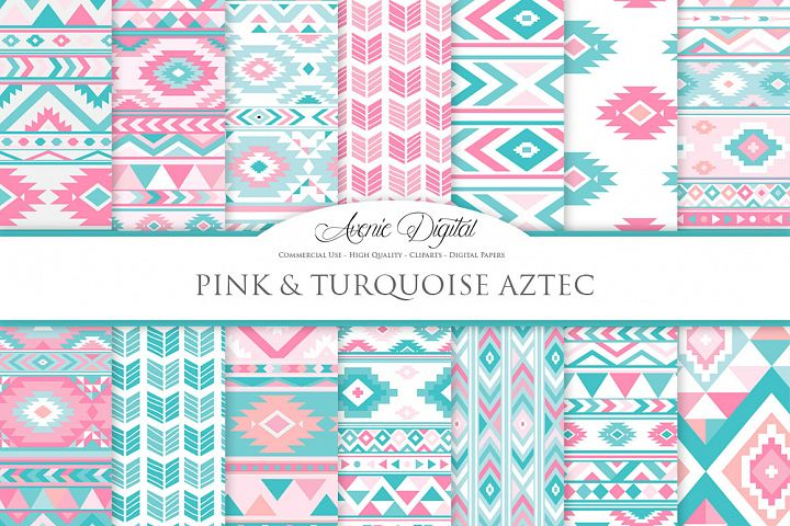 Pink and Teal Boho Seamless Patterns