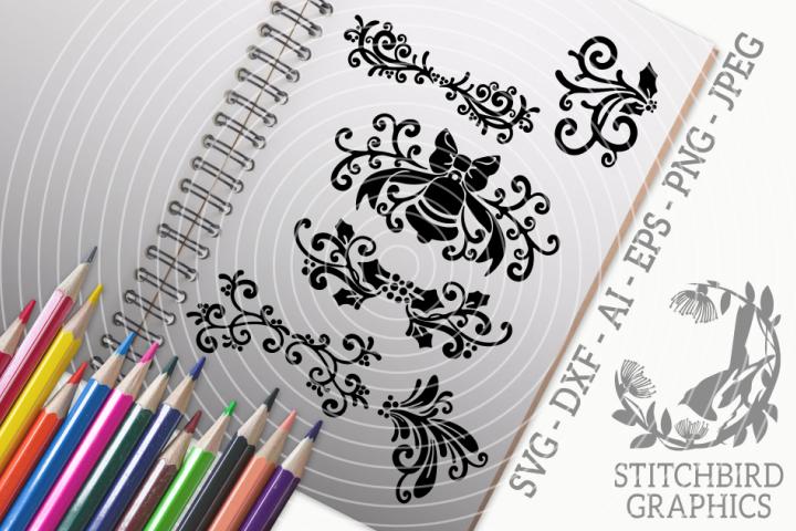 Christmas Scrolls SVG, Silhouette Studio, Cricut, Eps, Dxf
