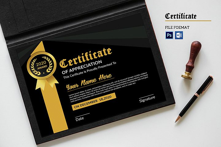 Certificate of Appreciation, Ms Word & Photoshop Template