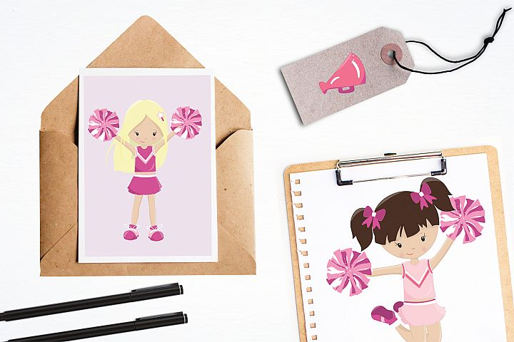 Cheerleaders graphics and illustrations - Free Design of The Week Design 3