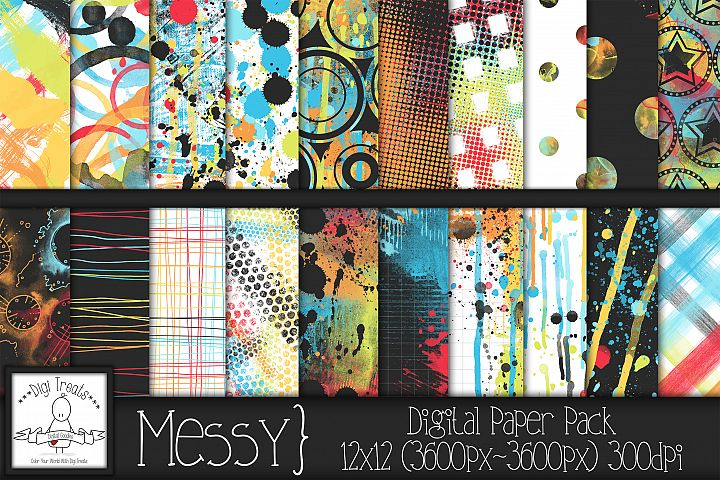 Messy 12x12 Digital Paper Pack