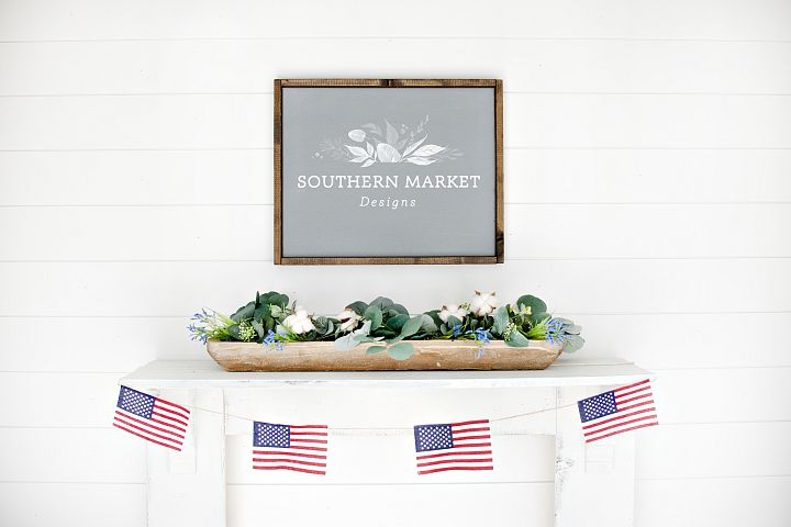 Patriotic Summer Wood 16x20 Sign Mock Up Stock Photo