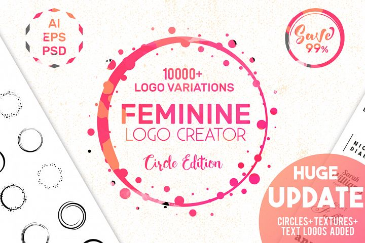HUGE! Feminine Logo Creator Kit Circle Edition